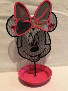 Minnie Mouse Pink & Black Mirrored Earring Tree Jewelry Organizer