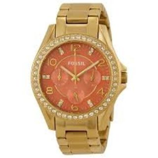 FOSSIL Riley Multi-Function Coral Dial Gold-tone Ladies Watch ES3530