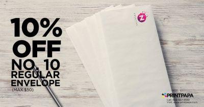 Get 10% off (max $50) on No. 10 Envelopes