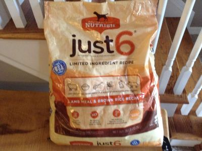 Rachel Ray Just 6 Dog Food-22lbs Left/Only Used 6lbs-Original was 28lb Bag-Retail is $30+ for this bag-Good Thru Date 1-20-19-Great Deal!