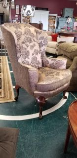 Very nice french upholstered wingback chair.