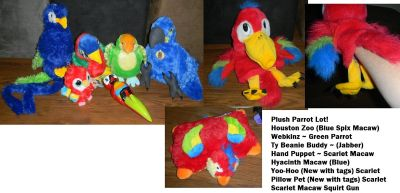 Plush Parrot Bird Lot Yoo-Hoo Ty Webkinz Houston Zoo Pillow Pet Squirt Gun +