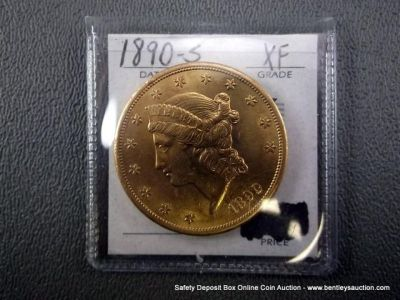 TWENTY DOLLAR GOLD COIN-1890-S XF