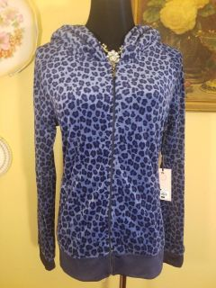 Juicy Couture Leopard Print Velour-Hoodie with Pockets NWT
