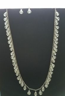 EUC Long Clear Charming Charlie Necklace and Earring Set