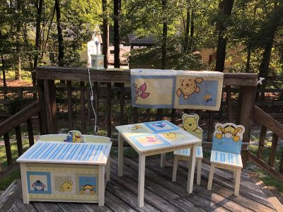 Wood toy box and table&chairs, rug, lamp