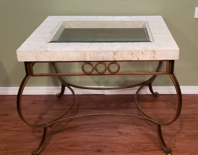 Large stone and glass end table