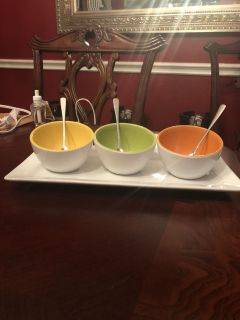 Condiment Server with small spoons.