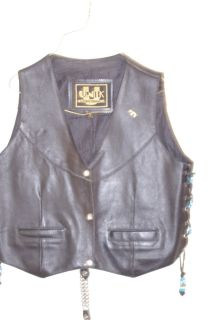 leather vest w/beads