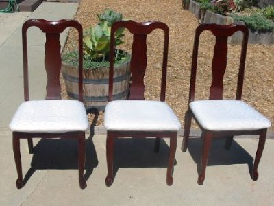 3 Mahogany Solid Wood Dining Chairs