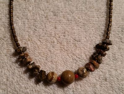 """Handcrafted Beaded Necklace, Glass Beads and Agate Gemstones, 20"""" Long"""