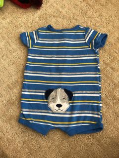6 month bodysuit with puppy on the back