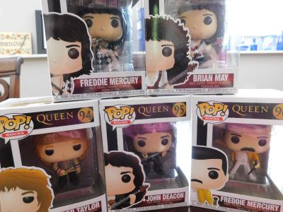 BRAND-NEW IN BOX FUNKO POP QUEEN SET, INCLUDING LIVE AID FREDDIE!
