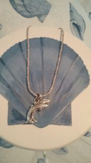 Silver and Gold Dolphin Necklace and Charm