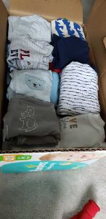 Box full of baby clothes, 0-3 and 3 months