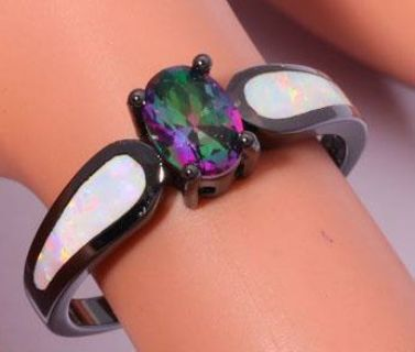 New - White Opal and Rainbow Topaz Black Ring - Size 6