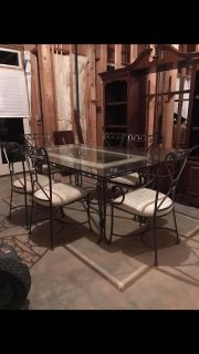 Raw iron glass table marble looking six chairs from Macy's