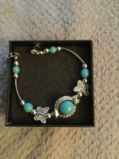 Vintage style butterfly bracelet with turquoise