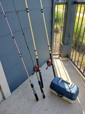 2- 606 Zebco Reels on 8 ft Rods, 2- 5 1/2 ft Zebco Rods, Tackle box full of supplies