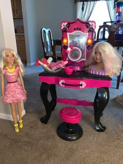 Kids Vanity Set with accessories, styling head, and large Barbie.