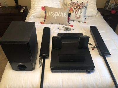 Sony 5.1 surround system. 5 DVD player. Wireless surround speakers. Subwoofer.