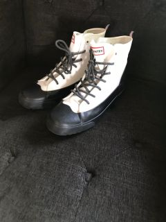 White and black hunter boots/rain boots women s size 10 men s size 8 never worn