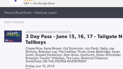 2 tickets to Tailgate and Tallboys for all three days