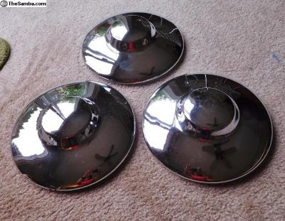 Three 356 Nipple Hubcaps