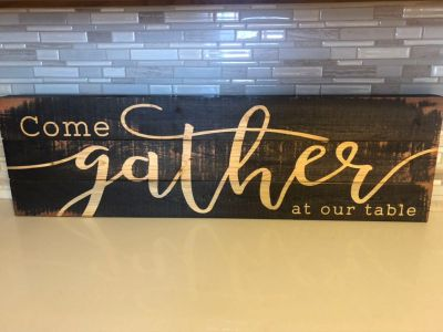 Come Gather at our Table large wooden sign. Brand new with tags