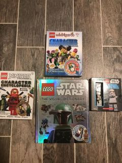 Lego character encyclopedias and figures,$5 each