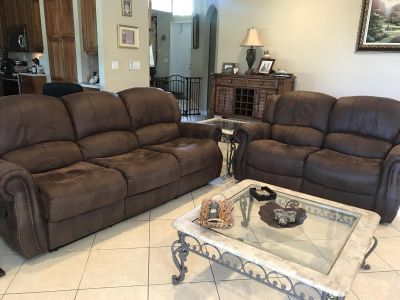 Reclining Sofa Couch and Love Seat