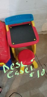 Kids desk/easel, kids cart and doll high chair, twin size headboard and footboard