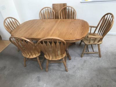 7pc Oak Dining Table Set with leaf by A American Furniture