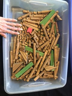 Tote of Lincoln logs