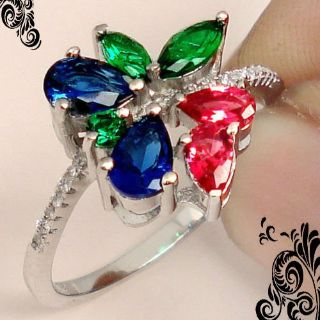 NEW - Unique Dainty Emerald, Ruby and Sapphire 925 Sterling Silver Ring - Size 8 1/4