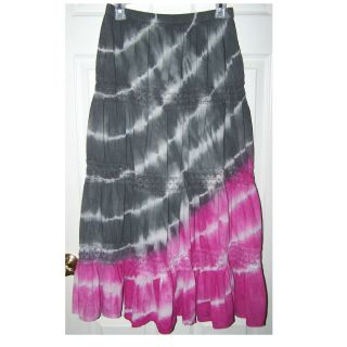 Size Large - Tie Dye Gray, Pink and White Lightweight Cotton Long Skirt