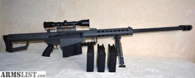"For Sale: BARRETT 82A1 .50 BMG W/29"" BARREL, SWAROVSKI OPTIK SCOPE, PELICAN 1750 CASE, 4 MAGAZINES (NO RESERVE) (FREE SHIPPING)"