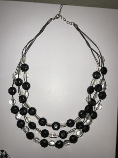 3 Layer Black/Clear Beaded Necklace on Fine Black Threaded Chain w/Extender!!! Great for Mardi Gras Balls or Casual Attire~Classic Style!!!