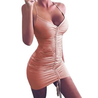 Nude Tan Bandage Dress Scrunch Sizes S M L