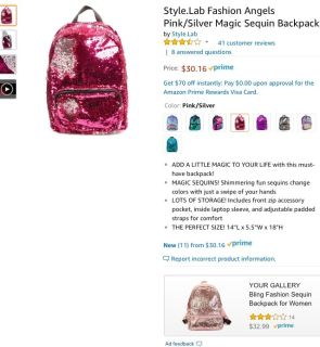 Pink/Silver Sequin Backpack
