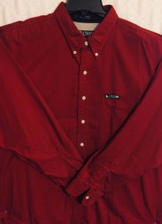 Men s Solid Red Tommy Hilfiger Long-Sleeve Shirt