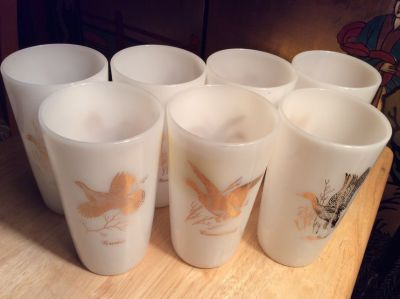 Vintage: Wild Bird Milk Glass