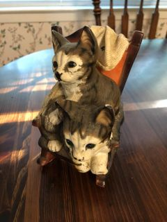 Cats in rocking chair figurine