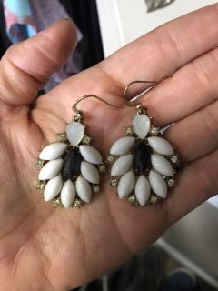 Black white and gold earrings