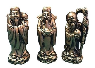 """Chinese Feng Shui Gold Resin Three Wise Men Figurine- 4"""" Set of 3"""