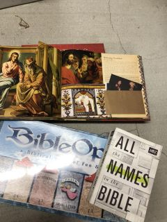 Unopened Bible game, brand new flap book and new names book