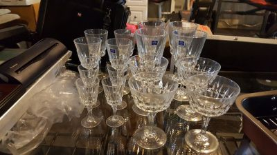 Various sizes gobblets, shot glasses, drinking glasses