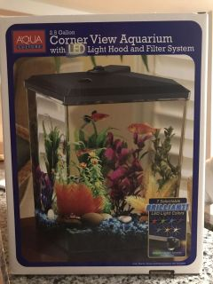 2.5 Gallon corner view aquarium with LED light hood and filter system