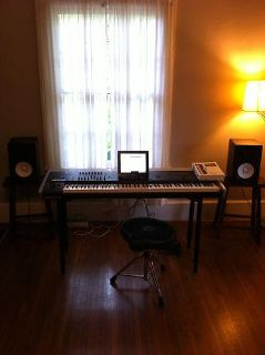 Korg Oasys 88 key Synthesizer with 2 yamaha HS80M powered speakers  stand  seat   $1600