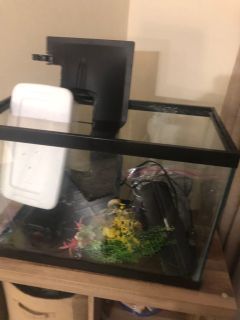 30 gallon fish tank with chemicals and accessories